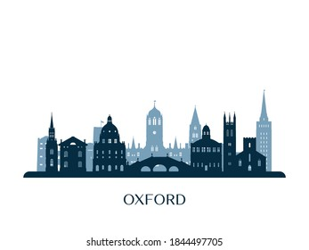 Oxford skyline, monochrome silhouette. Vector illustration.