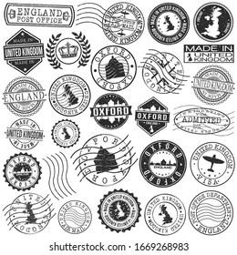 Oxford, UK Set of Stamp. Vector Art Postal Passport Travel Design. Travel and Business Seals.