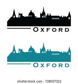 Oxford UK skyline Logo cityscape and landmarks silhouette vector illustration