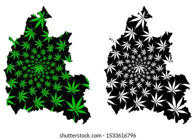 Oxfordshire (United Kingdom, England, Non-metropolitan county, shire county) map is designed cannabis leaf green and black, Oxon map made of marijuana (marihuana,THC) foliage
