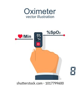 Oximeter on finger. Measurement of pulse and saturation of blood with oxygen. Medical equipment, cardio test. Healthcare concept. Vector illustration flat design. Monitoring health.