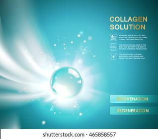 Oxygen bubble of hyaluronic acid for moisturizing collagen design. Vector illestration.