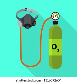 Oxygen cylinder icon. Flat illustration of oxygen cylinder vector icon for web design