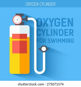 Oxygen cylinder for swimming.  Vector icon illustration background. Colorful template for you design, web and mobile applications concept