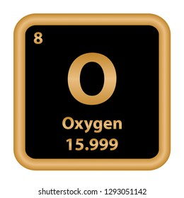 Oxygen element from the periodic table series. Sign with atomic number and atomic weight. chemical element.