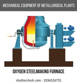 Oxygen steelmaking furnace (converter). Vector illustration isolated on white background
