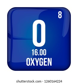 Oxygen symbol.Chemical element of the periodic table on a glossy white background in a silver frame.Vector illustration.