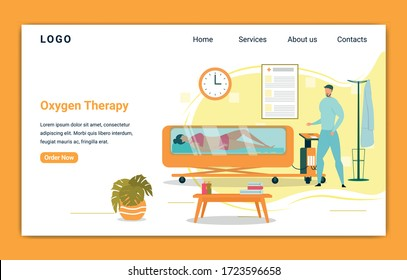 Oxygen Therapy, Treatment Delivering Gas for Woman Patient to Breathe. Girl in Swimwear Lying in Hyperbaric Chamber Banner. Doctor Curing Ilness or Disease with Lung Vector Illustration.