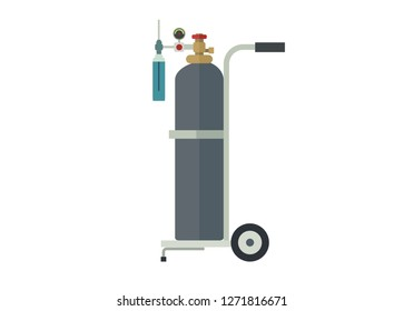 oxygen tube and its trolley, simple illustration