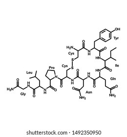 Oxytocin chemical formula on white background
