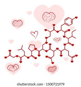 Oxytocin chemical hormula, hormone of love