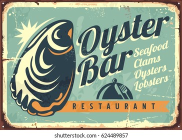 Oyster bar creative retro sign design template. Vintage signage for seafood restaurant with old typography and oyster graphic. Vector illustration.
