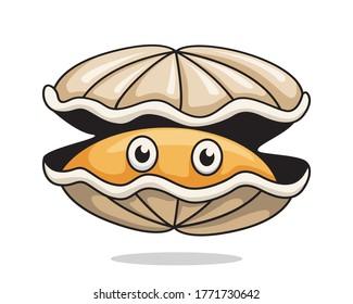 Oyster Cartoon Cute Clam Illustration Shellfish