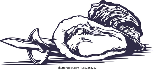 oyster and clams with oyster knife with white background and single color vector. easy to edit in any color.