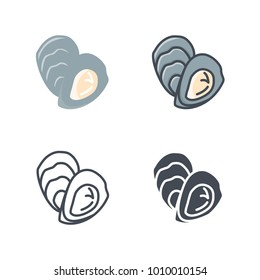 Oyster food flat line sihlouette