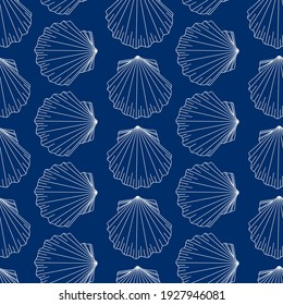 Oyster marine pattern. White contour molluscs on a blue background. Design for fabrics, textiles, packaging, paper