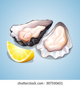 Oyster with a piece of lemon illustration