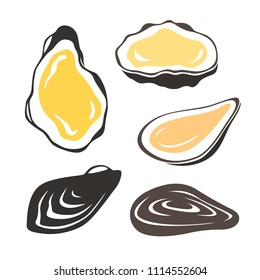 Oyster. Set of shellfish isolated vector illustrations.