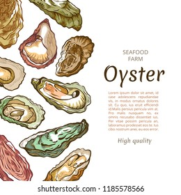 Oyster shell banner, seafood farm banner template. Commercial facility raising oysters for human food. Vector illustration on white background with copy space for text