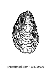 Oyster shell ink sketch. Isolated on white background. Hand drawn vector illustration. Retro style.