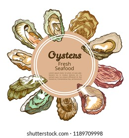Oyster shell round banner with copy space. Shellfish product, seafood restaurants specialize in fish and shellfish decor. Vector hand drawn illustration oyster food isolated on white background