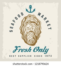 Oyster shellfish label. Fresh oysters label with hand drawn shellfish, retro seafood market or restaurant poster vector illustration