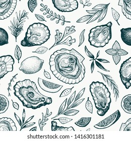 Oysters and spices seamless pattern. Hand drawn vector illustration. Seafood banner. Can be used for design menu, packaging, recipes, fish market, seafood products.