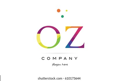 oz o z  creative rainbow colors colored alphabet company letter logo design vector icon template