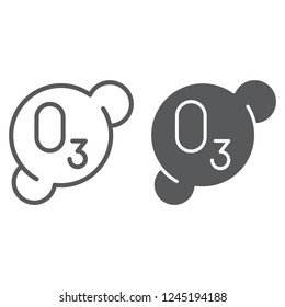 Ozonation line and glyph icon, formula and ozone, molecule sign, vector graphics, a linear pattern on a white background, eps 10.