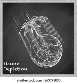 Ozone layer degradation is one of the most acute global environmental problems. EPS10 vector illustration in a sketchy style imitating scribbling on the blackboard.