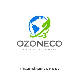 Ozone logo design. World ozone day vector design. Earth planet with ozone layer and leaf logotype