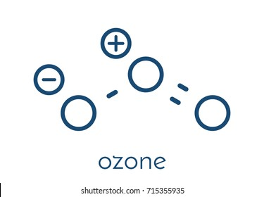 Ozone (trioxygen, O3) molecule, chemical structure. Skeletal formula.