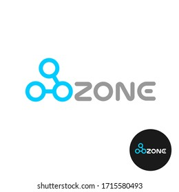 Ozone word logo with O3 molecule structure. Ozone modern stylized text with chemical symbol.