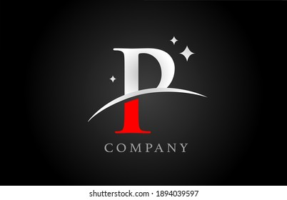 P alphabet letter logo for company and corporate in black red and white colors. Creative design with stars. Can be used for a logotype or branding