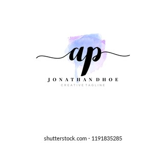 A P AP Initial watercolor logo on white background. Logo template vector