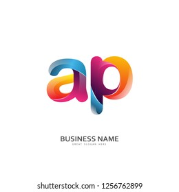A P AP Logo Letter Design Vector colorful glossy color.