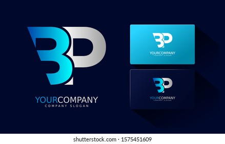 P B Logo and business card. BP Letter modern Design Vector with blue and silver gradient color.