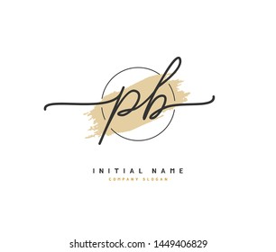 P B PB Beauty vector initial logo, handwriting logo of initial signature, wedding, fashion, jewerly, boutique, floral and botanical with creative template for any company or business.