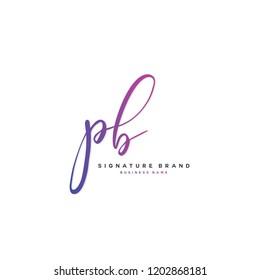 P B PB Initial letter handwriting and  signature logo concept design