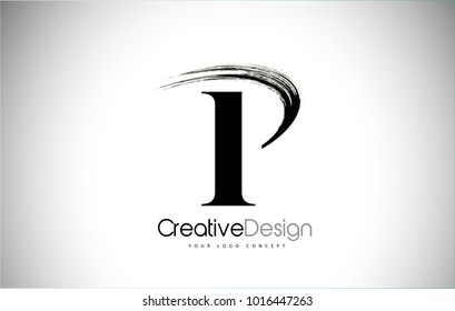 P Brush Stroke Letter Logo Design.  Black Paint Logo Letter  Icon with Elegant Vector Design.