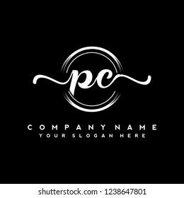 P C Initial handwriting logo vector