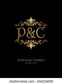 P & C initial wedding logo template vector