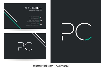 P & C joint logo stroke letter design with business card template