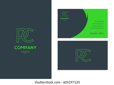 P & C Letter logo design vector element with Business card template