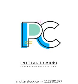 P C Memphis letter style, initial logo template vector full color.