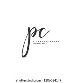P C PC Initial letter handwriting and  signature logo concept design