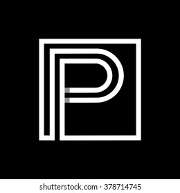 P capital letter enclosed in a square. . Overlapping with shadows monogram, logo, emblem. Trendy design.