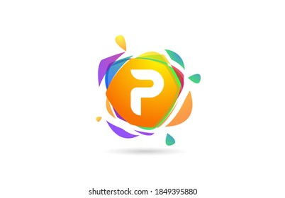 P colored alphabet letter logo icon. Creative template design with broken splash for business and company