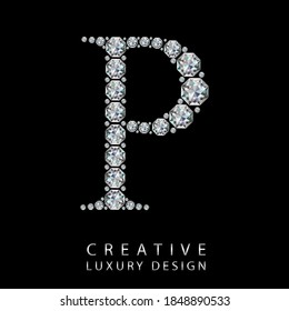 P diamond letter vector illustration. White gem symbol logo for your luxury business, casino, jewelry or web site. Upper letter with many sparkling diamonds isolated on black background.