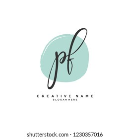 P F PF Initial logo template vector